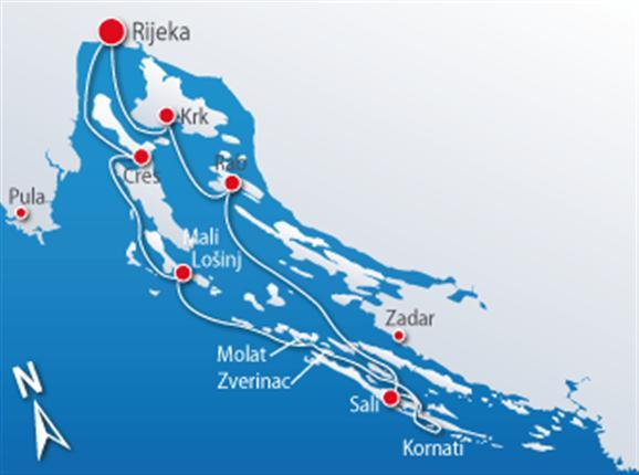 Kvarner islands to Kornati National-Park (R1)