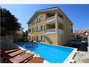 Apartmaji Gorica I Baska - otok Krk, Kvadratura 55,00 m2, Namestitev z bazenom, Oddaljenost od morja 200 m