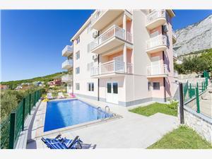 Apartmány Seaview Dalmácie, Prostor 50,00 m2, Soukromé ubytování s bazénem, Vzdušní vzdálenost od moře 250 m