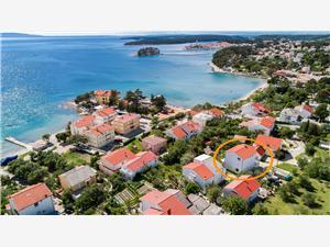 Sobe Mande Banjol - otok Rab, Kvadratura 16,00 m2, Zračna udaljenost od mora 100 m