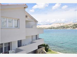 Appartementen Hrvoje Pag - eiland Pag, Lucht afstand tot de zee 6 m, Lucht afstand naar het centrum 800 m