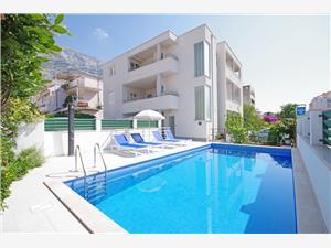 Appartementen Slobodanka Makarska, Kwadratuur 21,00 m2, Lucht afstand tot de zee 70 m, Lucht afstand naar het centrum 100 m