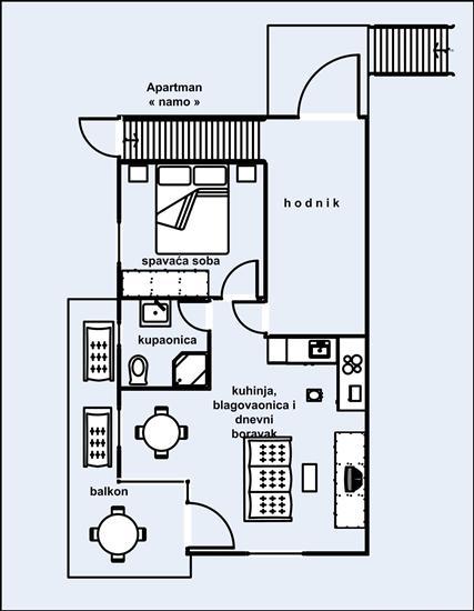 Апартаменты A3, для 4 лиц